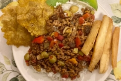Picadillo with Tostones & Yucca Fries