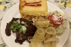Arroz Imperial with Yucca, Black Beans & Salad